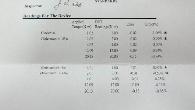 PWT PDT-120 校正検査証明書