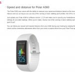 Polar A360にスピードと距離表示が追加される様です。