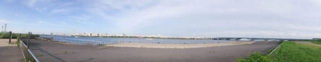 荒川 河口 パノラマ 写真 右岸