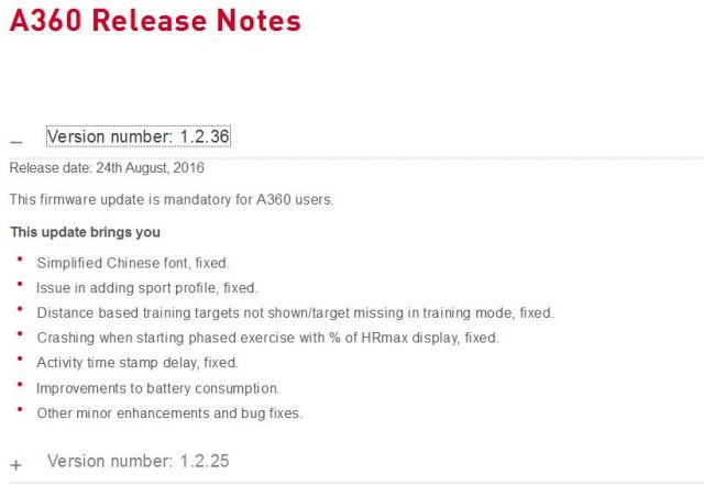 Polar A360 Release notes ersion number: 1.2.36