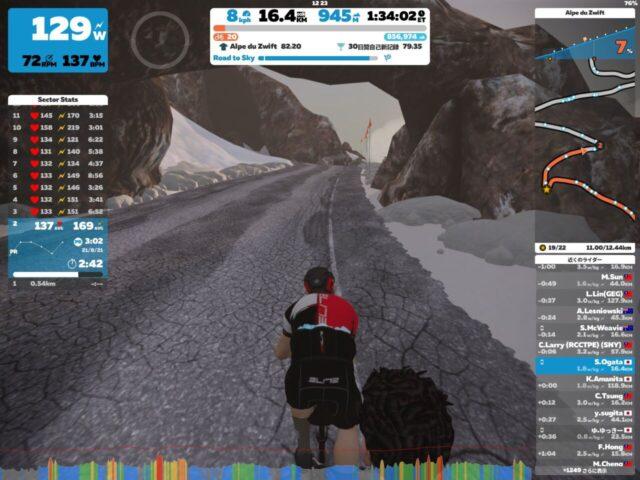 【8回目】Alpe du Zwift(Road to Sky)を上ってみた